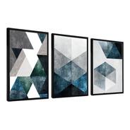Quadro Decorativo Abstrato Azul Cinza Cimento 48x68 Sala