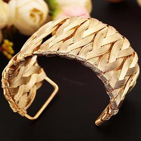 Bracelete Pulseira Dourado Aberto E Grande Linda P01