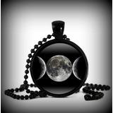 Pingente Wiccan Pentagrama Dark Tríplice Lua Cabochão Black