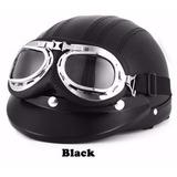 Casco Motocicleta Moto Piel Sintética Estilo Vintage Negro