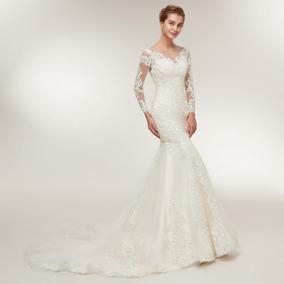 Vestido De Noiva Rendado Sereia Com Calda Manga Longa