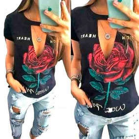 Blusa Blusinha Coleira Gola Choker Flor Rosa Tshirt Feminina