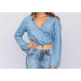 Cropped Jeans Claro Frente Transpassada Parthenon Femina