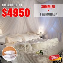 Colchón Espuma + Sommier Plaza Y Media + 2 Almohadas + Envío