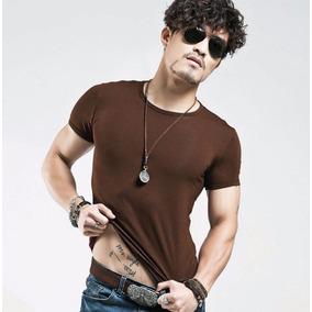 Camisa Camiseta Blusa Masculina Básica Lisa Slim Fit Marrom