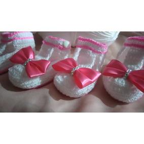 Zapatitos Para Niña Tejido A Crochet Con Moñito-detalles Luz