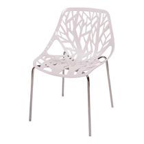 Cadeira Flower Branca Em Polipropileno E Base Em Aço Cromado