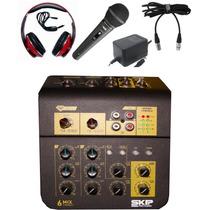 Consola 6 Canales Skp + Mic + Auric. Ideal Radio Web Edición
