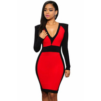 Vestido Sexy Rojo Con Negro Y Mangas Largas Cierre Escote