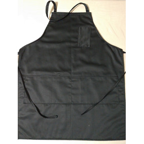 Mandil De Gabardina Negro Con Bolsas Chef, Cocineros