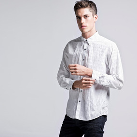 Camisa Etiqueta Negra Entallada Blanco Trebol