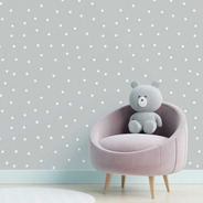 Papel De Parede Adesivo Estrela Branco E Cinza N05034