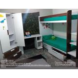 Dormitorio Infantil. Litera/closet/escritorio Moderno