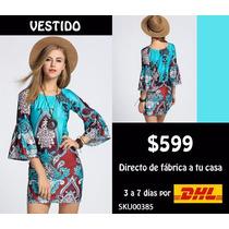 *fashionstore* Vestido Corto Estilo Hippie Aqua Sku00385