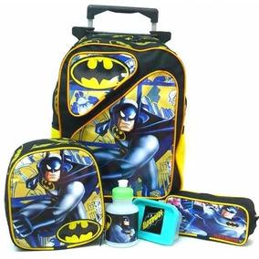 Kit Mochila Batman 2 Bolsos Rodinhas Tam G + Lancheira