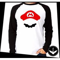 Manga Longa Jogo Videogame Mário Bros Bigode Blusa Camisa