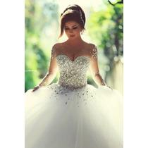 Vestido De Noiva Rodado Tulê Invisivel Pedra Brilho De Luxo