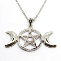 Colar Pingente Triluna Pentagrama Wicca Com Corrente