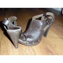 Sandalias Zapatos Suecos Cuero Suela De Madera Y Tachas