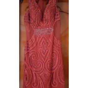 Vestido De Fiesta Color Rojo Con Bordado De Cristal