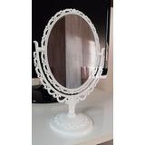 Espelho De Mesa Oval Branco Princesa Festa Decor Maquiagem
