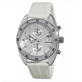 Relógio Emporio Armani Pulseira De Borracha Branca Ar5929