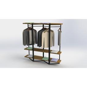 Exhibidor De Ropa Portátil Ropero Bazares Diseño Mueble