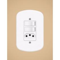 2 Interruptores Simples + Tomada 2p+t 20a 250v Blanc Fame !!