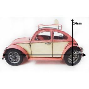 Miniatura Fusca Vintage Retrô Réplica 26cm Com 2 Pranchas