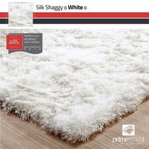Tapete Sala Silk Shaggy Fio De Seda Branco Pérola 1,00x1,50