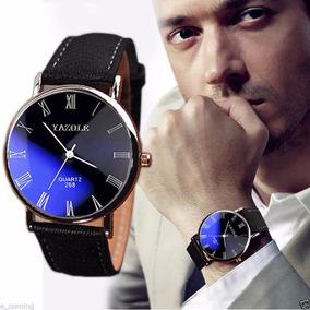 Relógio Masculino Yazole - Algarismo Romano - Reflexo Azul