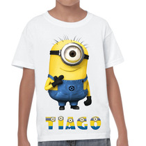 Camiseta Infantil Personalizada Minions Com O Nome