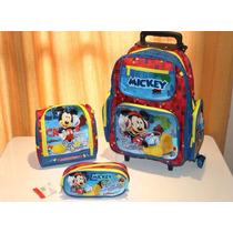 Kit Mochila Infantil Rodinha Mickey + Lancheira + Estojo