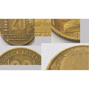 3 Monedas 20 Centavos 1946 1949 1950 Argentina C/ Detalle !
