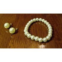Pulsera Mujer Perlas Hermosas Con Aros Preciosos Para Dama