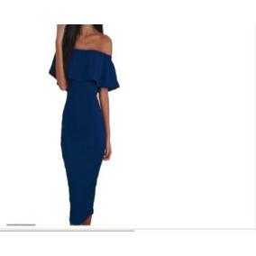 Vestido De Fiesta 3/4 Azul Rey Cuello Bandeja