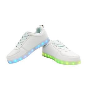 Zapatillas Luces Led 7 Color Blanco Hombres Niños Adultos
