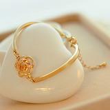 Pulseira Bracelete Feminino Love Dourada Ajustável Com Flor