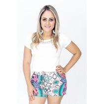 Conjunto Blusa Pedras Shorts Estampado Roupas Femininas 2017