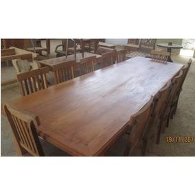 Mesa De Jantar 2,00m +6 Cadeiras Madeira Rústica Maciça