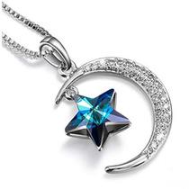 Dije En Forma De Estrella Y Luna Con Cristales Swarovsky