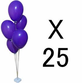 Kit 25 Suportes De Mesa 5 Bola Balões Bexiga Imita Gás Helio