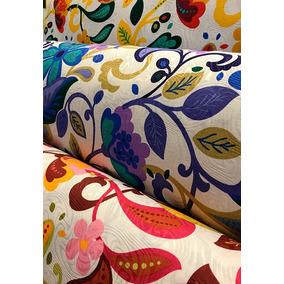 Tecido Para Estofados Jacquard Floral Colorido 1m