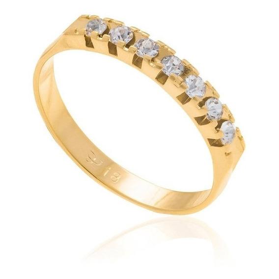 Anillo Con Piedras Swarovski De Oro Laminado 18k Compromiso Calidad Rommanel