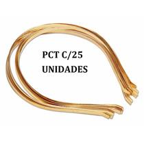 Tiara De Metal Cor Dourada 4mm Lisa Pacote C/25 Unidades.