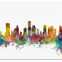 Houston, Texas Skyline Canvas Art By Michael Tompsett