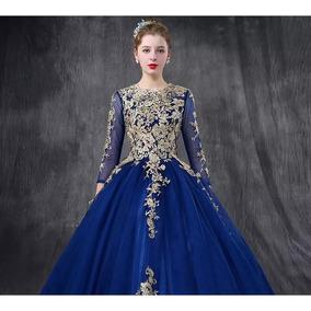 Vestidos color azul rey con dorado