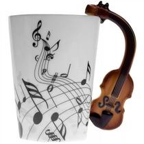 Taza Con Mango De Violin Y Notas Musicales Onduladas H1051