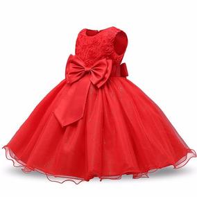 Vestido Infantil De Princesa Vermelho Festa Tamanho 3 Anos