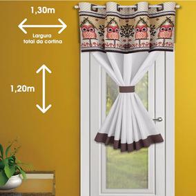 Cortina Porta De Cozinha 1,30m X 1,20 Corujinha - Uma Parte